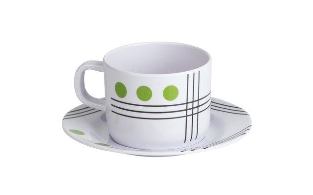 Berger Dots Melamin Tasse mit Untertasse Grün