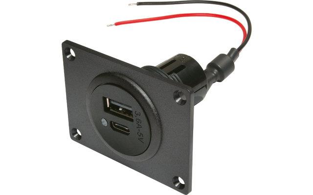 Power USB-C/A Doppelsteckdose EV mit Montageplatte 12-24V