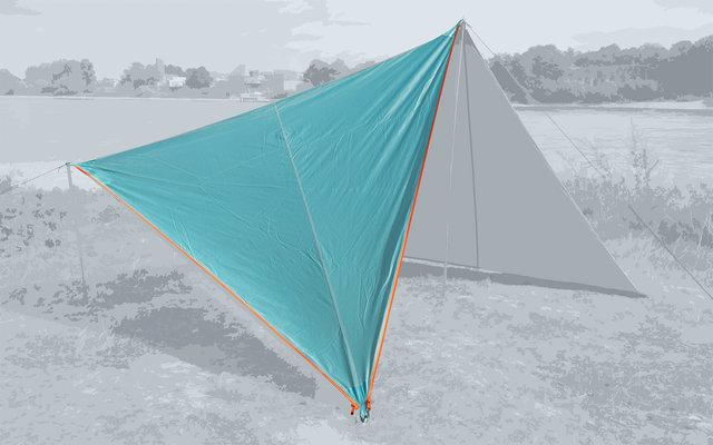 Bent Canvas Plain Single Tarp ocean wave / zipper orange