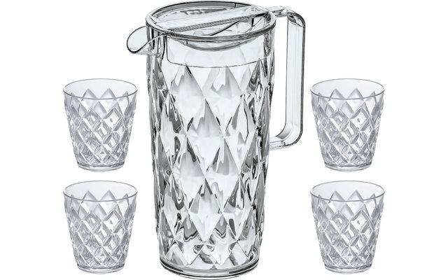 Koziol Crystal Kanne 1,6 l inkl. Deckel und 4 Becher