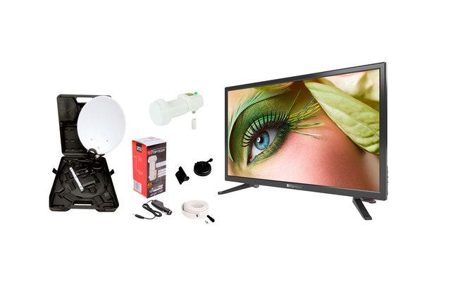 """Opticum Travel TV Camping Set EasyFind Sat-Antenne mit 24"""" Fernseher"""