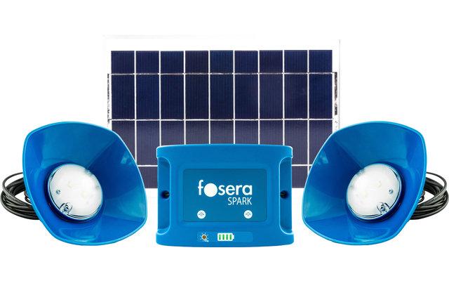 Fosera Spark 20 Solaranlagen-Set inklusive Batterie und 2 Einbaulampen