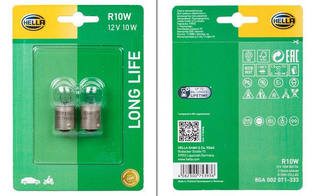 Hella BA15s R10W Long Life Glühlampe Blink- / Positions- / Brems- / Rückfahr- / Schluss- / Innenraumleuchte 12 V / 10W 2er-Set