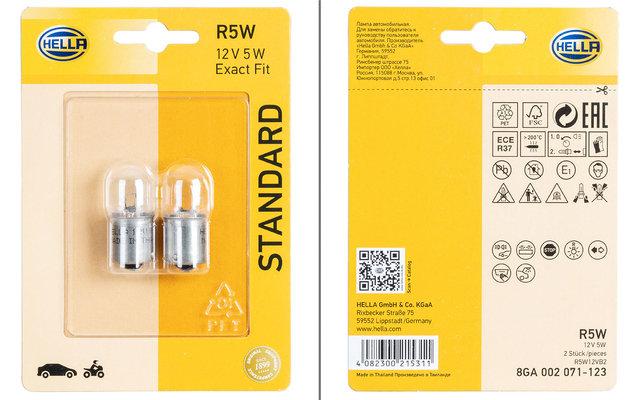 Hella BA15s R5W Standard Glühlampe Blink- / Positions- / Schluss- / Innenraum- / Begrenzungsleuchte 2er-Set 12 V / 5 W
