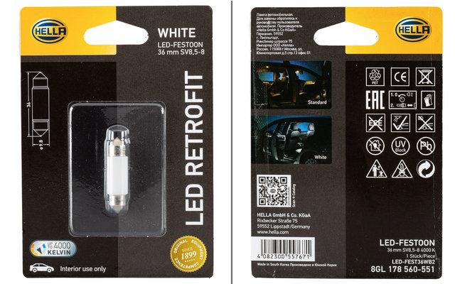 Hella LED-Festoon White LED-Glühlampe Innenraumleuchte 36mm 12 V / 1 W 4000 K