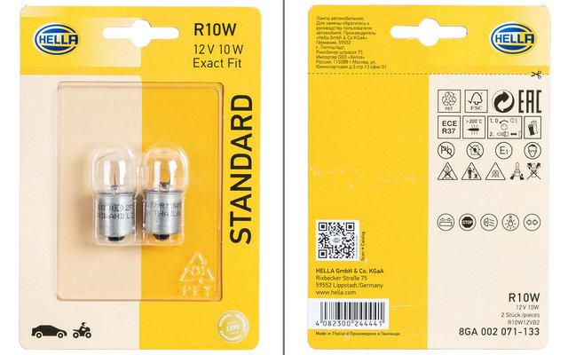 Hella BA15s R10W Standard Glühlampe Blink- / Positions- / Brems- / Rückfahr- / Schluss- / Innenraumleuchte 12 V / 10W 2er-Set