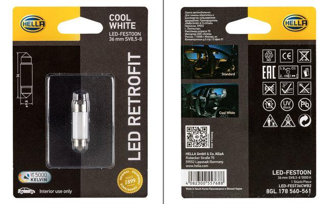 Hella LED-Festoon Cool White LED-Glühlampe Innenraumleuchte 36mm 12 V / 1 W 5000 K