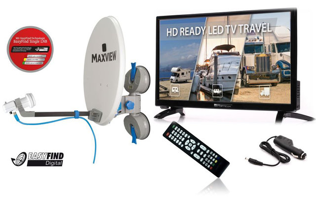 "Opticum / Maxview EasyFind Remora Pro Camping Set  24"" LED Fernseher inkl. Sat-Anlage Single-LNB"