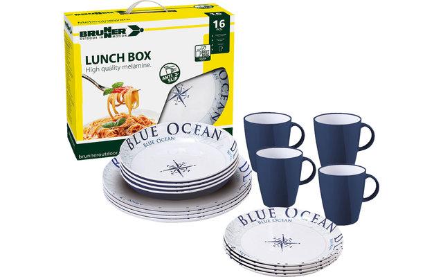 Brunner Lunch Box Blue Ocean Melamin Geschirr-Set 16-tlg.