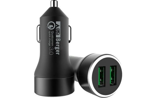 Berger USB-Dual KFZ Schnellladegerät 12 V / 24 V 3 A
