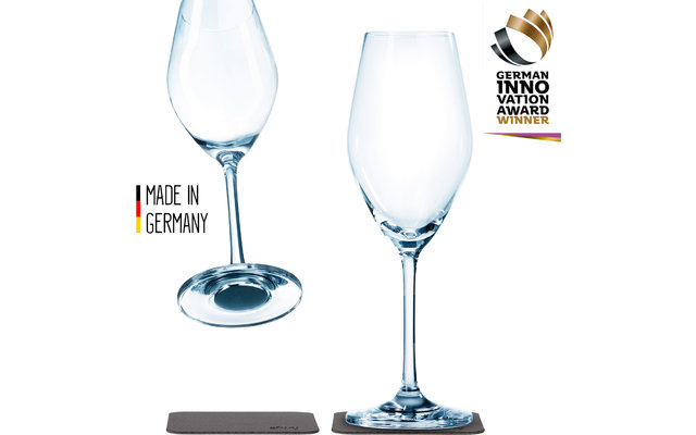 Silwy Magnet-Champagnergläser 250 ml inkl. Untersetzer 2er Set