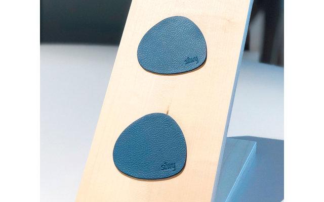 Silwy Magnet Glasuntersetzer Set mit Ledercoating 2-tlg. blau