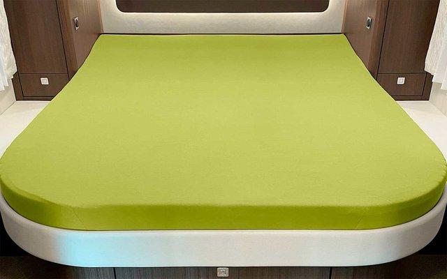 Spannbettlaken für Queensbett mit Abrundung oder Ecke Apfelgrün
