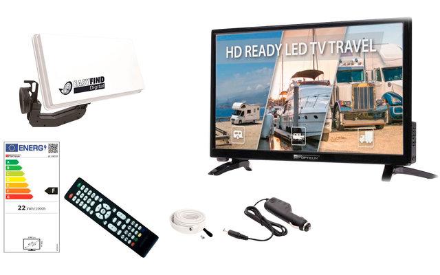 """Opticum EasyFind Traveller Camping Set 24"""" LED Fernseher inkl. Sat-Antenne"""