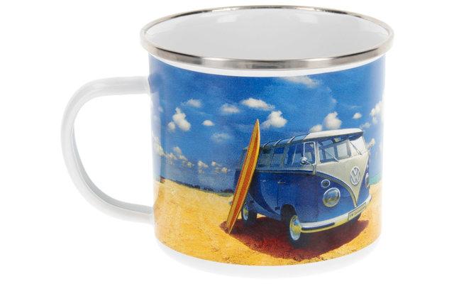 VW Collection T1 Bulli Emaille Tasse 500 ml Beachlife