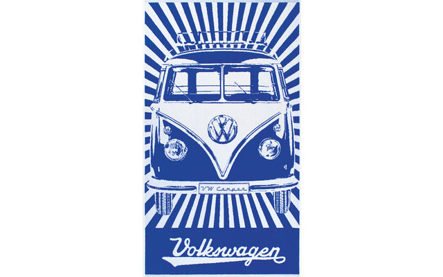 VW Collection T1 Bulli Strandtuch 160 x 90 cm Blau / Weiß